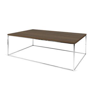 Table basse avec plateau décor noyer et piètement chromé - LYDIA
