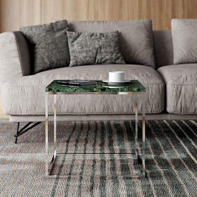 Table d'appoint plateau en marbre vert et piètement chromé - LYDIA