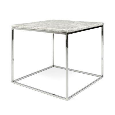 Table d'appoint plateau en marbre blanc et piètement chromé - LYDIA