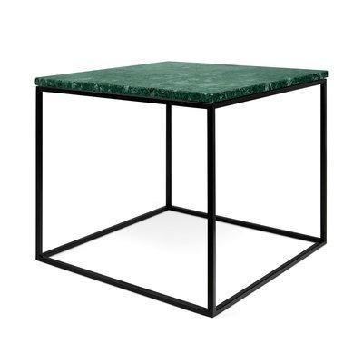 Table d'appoint plateau en marbre vert et piètement noir - LYDIA
