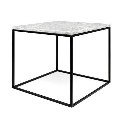 Table d'appoint plateau en marbre blanc et piètement noir - LYDIA