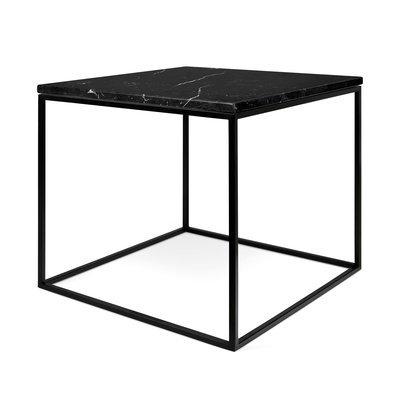 Table d'appoint plateau en marbre noir et piètement noir - LYDIA