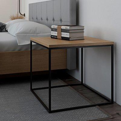 Table d'appoint plateau décor chêne et piètement noir - LYDIA