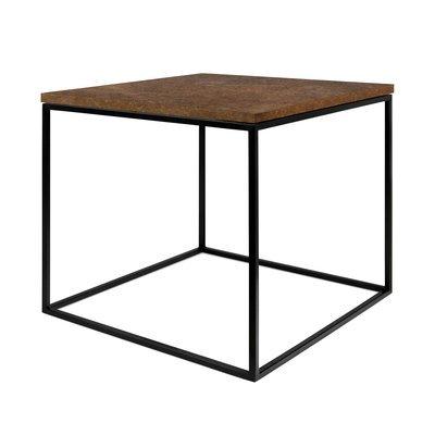 Table d'appoint plateau aspect vieilli et piètement noir - LYDIA