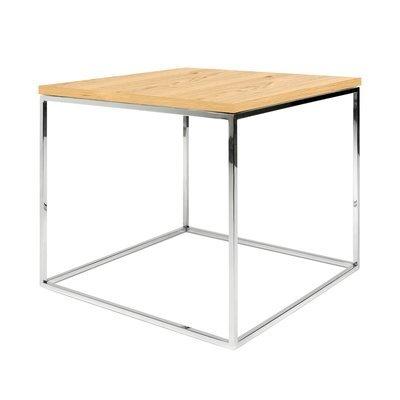 Table d'appoint plateau décor chêne et piètement chromé - LYDIA