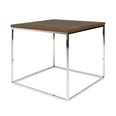 Table d'appoint plateau décor noyer et piètement chromé - LYDIA