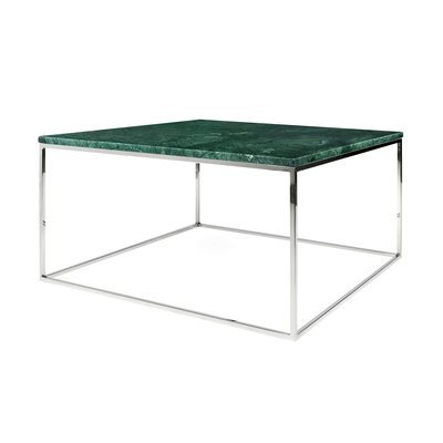 Table basse 75 cm plateau en marbre vert piètement chromé - LYDIA