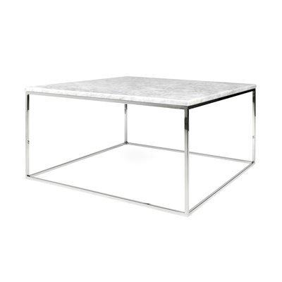 Table basse 75 cm plateau en marbre blanc piètement chromé - LYDIA