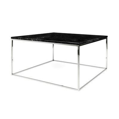 Table basse 75 cm plateau en marbre noir piètement chromé - LYDIA