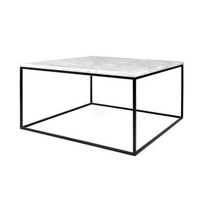 Table basse 75 cm plateau en marbre blanc piètement noir - LYDIA
