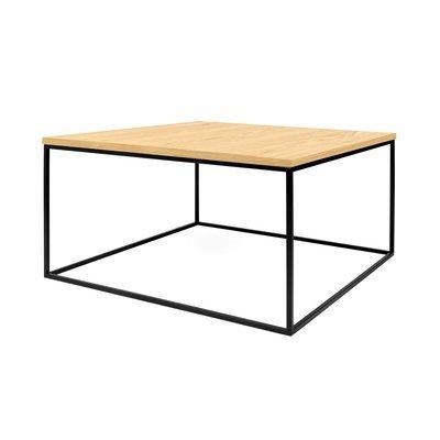 Table basse 75 cm plateau décor chêne piètement noir - LYDIA