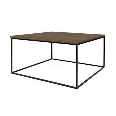 Table basse 75 cm plateau décor noyer piètement noir - LYDIA