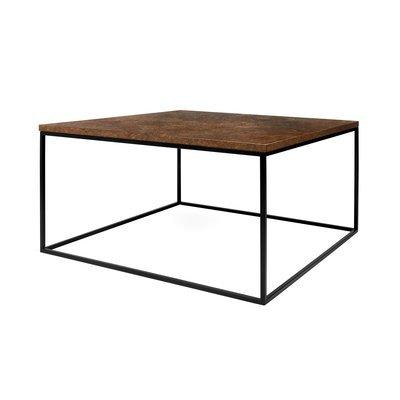 Table basse 75 cm plateau aspect vieilli piètement noir - LYDIA