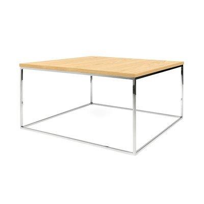 Table basse 75 cm plateau décor chêne piètement chromé - LYDIA