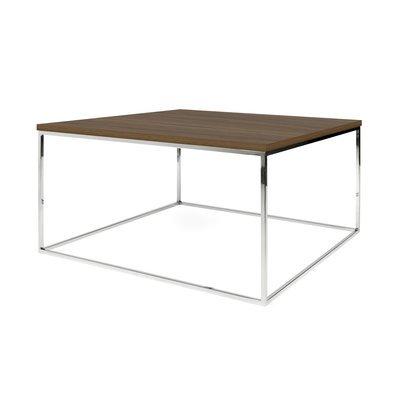 Table basse 75 cm plateau décor noyer piètement chromé - LYDIA