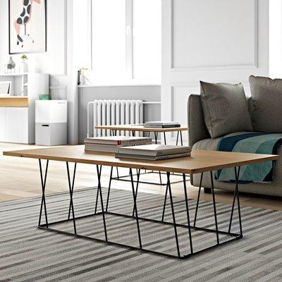 Table basse 120 cm plateau décor chêne piètement noir - TONKY
