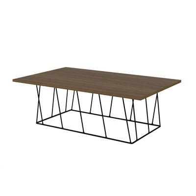 Table basse 120 cm plateau décor noyer piètement noir - TONKY