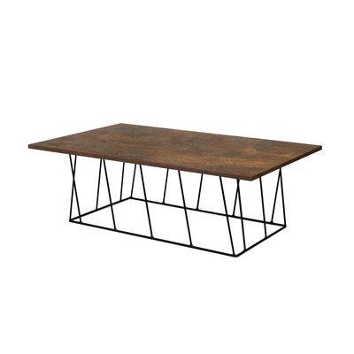 Table basse 120 cm plateau aspect vieilli piètement noir - TONKY