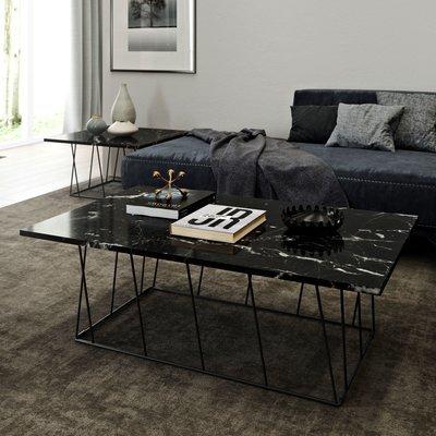 Table basse 120 cm plateau en marbre noir piètement noir - TONKY