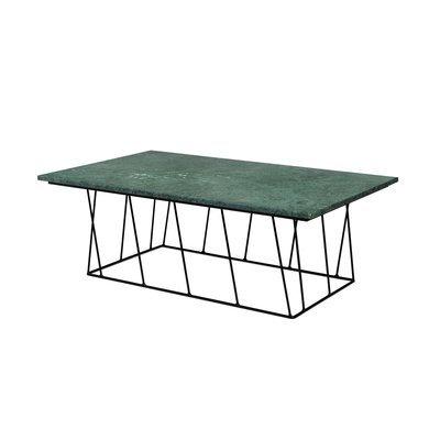 Table basse 120 cm plateau en marbre vert piètement noir - TONKY