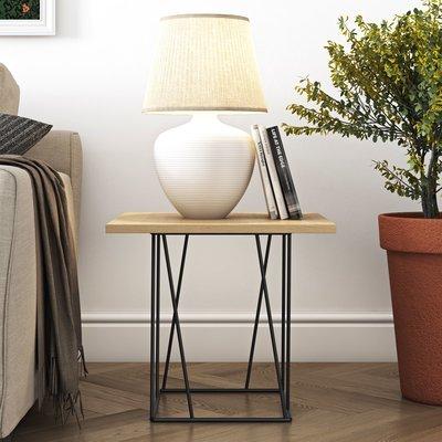 Table d'appoint plateau décor chêne piètement noir - TONKY