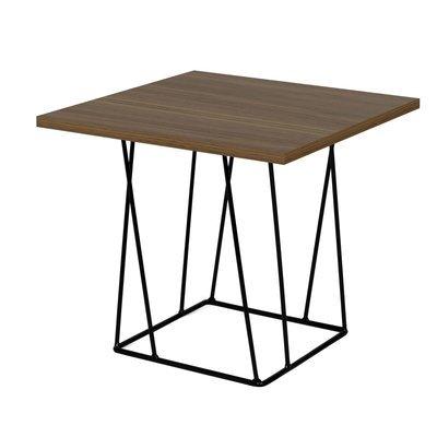 Table d'appoint plateau décor noyer piètement noir - TONKY