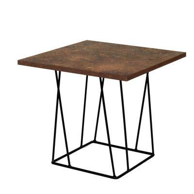 Table d'appoint plateau aspect vieilli piètement noir - TONKY