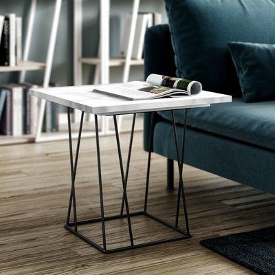 Table d'appoint plateau en marbre blanc piètement noir - TONKY