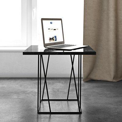Table d'appoint plateau en marbre noir piètement noir - TONKY
