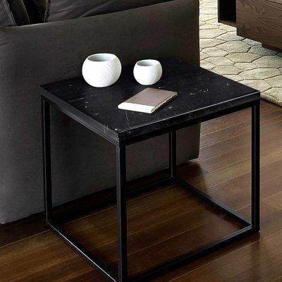 Table d'appoint 50 cm plateau marbre noir et piètement noir - OTIS