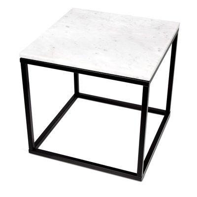 Table d'appoint 50 cm plateau marbre blanc et piètement noir - OTIS