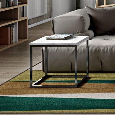 Table d'appoint 50 cm plateau marbre blanc et piètement chromé - OTIS