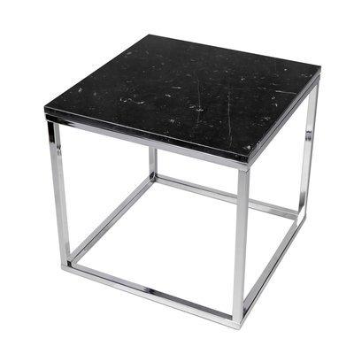 Table d'appoint 50 cm plateau marbre noir et piètement chromé - OTIS