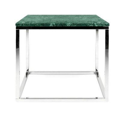 Table d'appoint 50 cm plateau marbre vert et piètement chromé - OTIS
