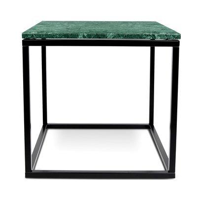 Table d'appoint 50 cm plateau marbre vert et piètement noir - OTIS