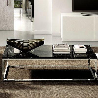 Table basse 120 cm plateau marbre noir et piètement chromé - OTIS
