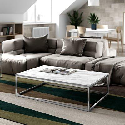 Table basse 120 cm plateau marbre blanc et piètement chromé - OTIS
