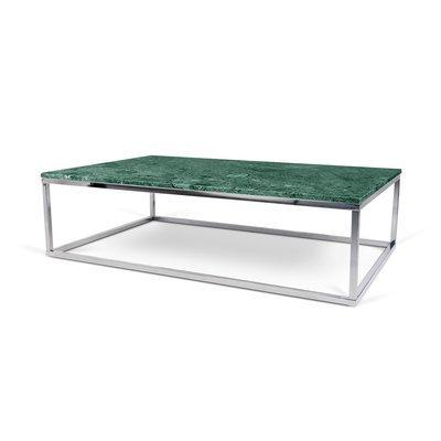 Table basse 120 cm plateau marbre vert et piètement chromé - OTIS