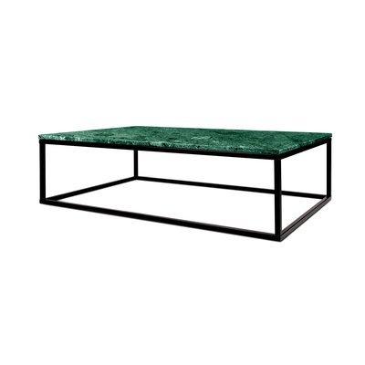 Table basse 120 cm plateau marbre vert et piètement noir - OTIS