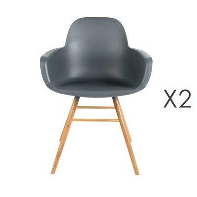 Lot de 2 chaises repas coque grise foncée et pieds naturels - KUIP
