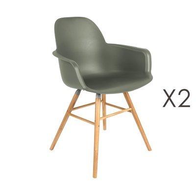 Lot de 2 chaises repas coque verte foncée et pieds naturels - KUIP
