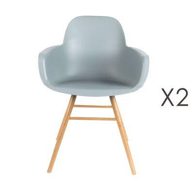 Lot de 2 chaises repas coque grise et pieds naturels - KUIP