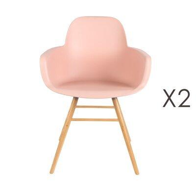 Lot de 2 chaises repas coque rose et pieds naturels - KUIP