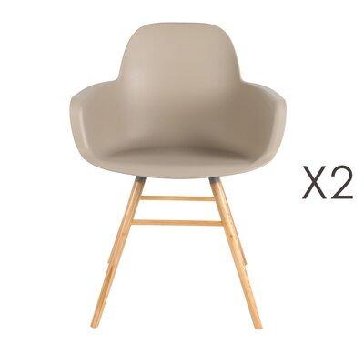 Lot de 2 chaises repas coque taupe et pieds naturels - KUIP