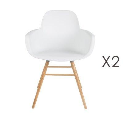 Lot de 2 chaises repas coque blanche et pieds naturels - KUIP