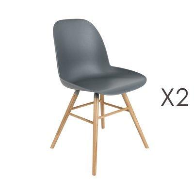 Lot de 2 chaises repas grises foncées et pieds naturels - KUIP