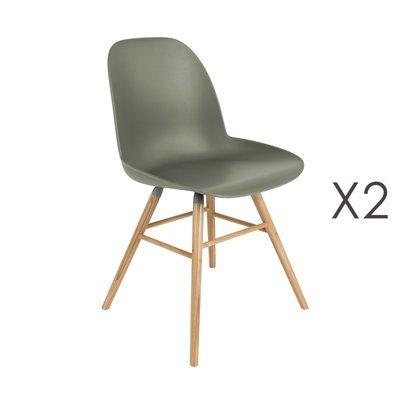 Lot de 2 chaises repas vertes foncées et pieds naturels - KUIP