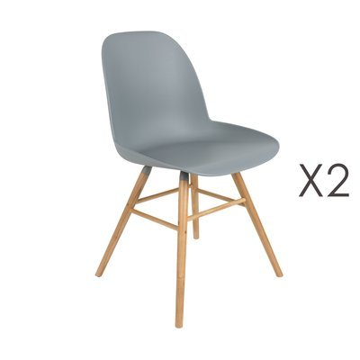 Lot de 2 chaises repas grises et pieds naturels - KUIP