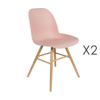 Lot de 2 chaises repas roses et pieds naturels - KUIP