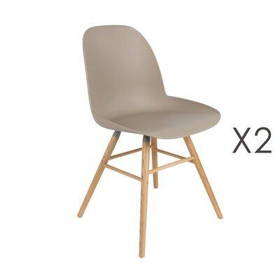 Lot de 2 chaises repas taupes et pieds naturels - KUIP